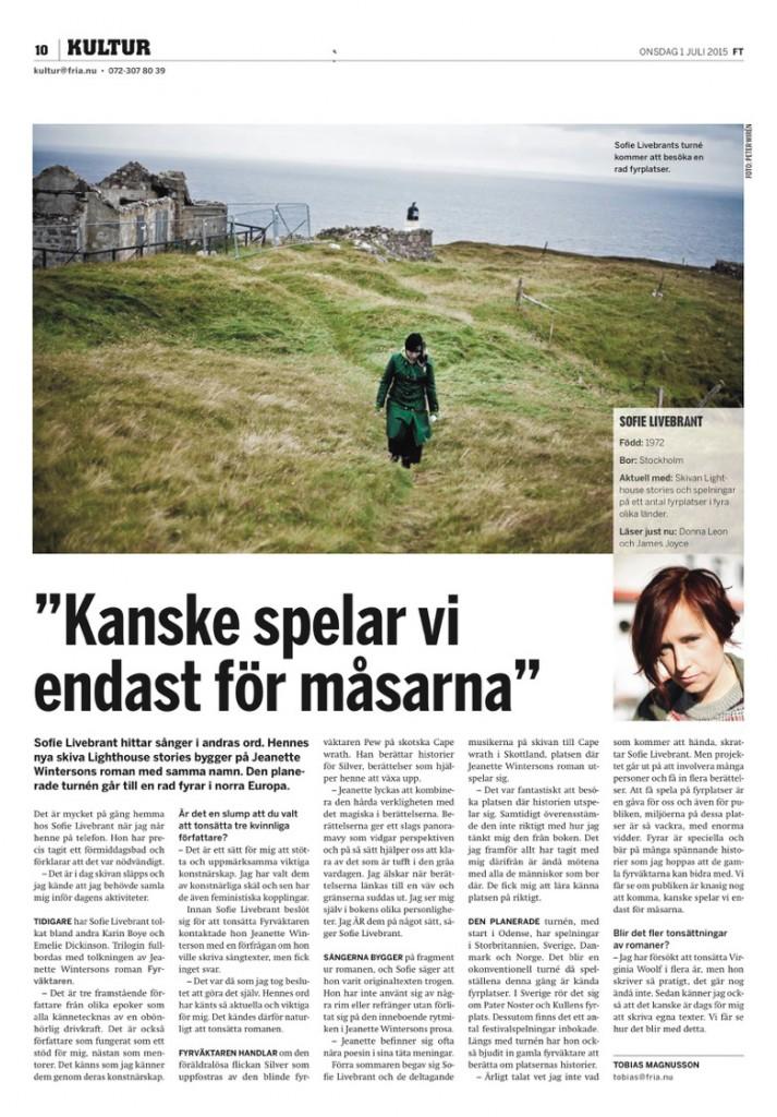 Fria tidning intervju - Sofie Livebrant  kopia